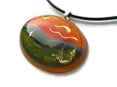 Resin oval pendant Hand painted mountain by ClarityArtJewelry