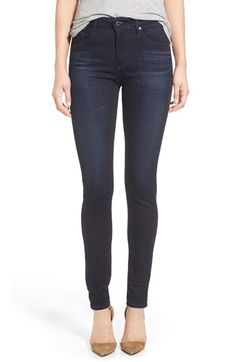 AG 'The Farrah' High Rise Skinny Jeans (Brooks) available at Nordstrom. I like the dark color of this denim paired with a light brown boot for contrast.