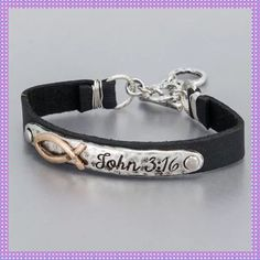 """Leather/Silver Hammered John 3:16 Bracelet ✨Fashionable and Beautifully made Black Leather Bracelet with Silver Hammered Plate Inscribed """"John 3:16"""". Toggle Closure, approx. 2.5"""" Diameter, Lovely & Unique Piece with a Bohemian Style✨PRICE IS FIRM UNLESS BUNDLED✨ Boutique Jewelry Bracelets"""