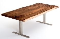 Contemporary Rustic Dining Table - Design #4 - Show with Meh Wood Top & Brushed Chrome Base - Item #DT00403 - Custom Sizes - Polished Chrome Option - Other Species of Wood Available