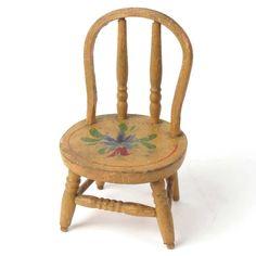 Wood doll chair miniature vtg hand painted mustard primitive flowers #primitives #vintage #miniature