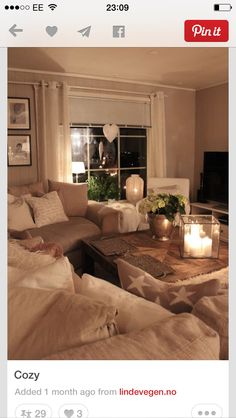 Caramel-taupe walls; off-white/cream linen and furnishings, i.e. curtains and cushions