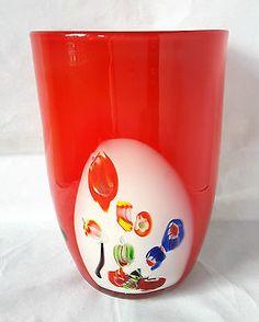 MURANO-STYLE-RED-WHITE-amp-MULTI-COLOURED-MURRINES-ART-GLASS-VASE-PLANTER-6-7-8-034-H