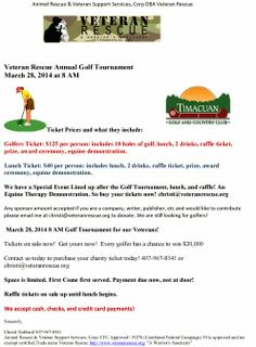 Veteran Rescue Annual Golf Tournament March 28, 2014... http://www.veteranrescue.org/