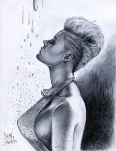 Alesandro Fantini - The spell of silver tears (portrait of Stefania Ferrario), ballpoint pen on paper, 21x29cm.