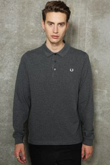 Fred Perry Grey Long-Sleeve Needlepunch Polo