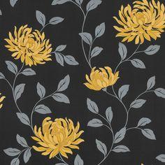 Arthouse L'amour Motif Floral Wallpaper Yellow / Black