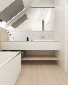 Dom w Skawinie Bathroom Lighting, Bathtub, Mirror, Interior, Furniture, Home Decor, Full Bath, Bathroom Light Fittings, Standing Bath