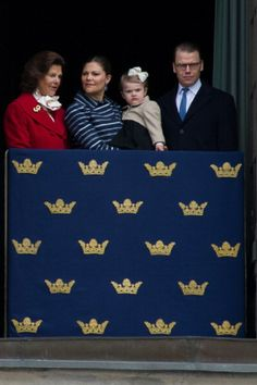 Queen Silvia, Crown Princess Victoria, Princess Estelle and Prince Daniel of Sweden attend the birthday ceremony of King Carl XVI Gustaf of Sweden at the Royal Palace, 30.04.14 in Stockholm, Sweden