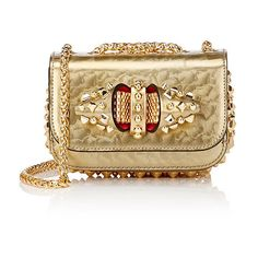 Christian Louboutin Women's Sweety Charity Tudor Mini Chain Bag ($1,500) ❤ liked on Polyvore featuring bags, handbags, shoulder bags, louboutin, gold, chain handle handbags, mini purse, chain strap handbag, bow purse and woven handbags