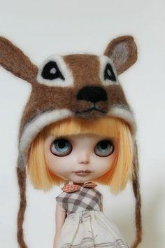 OOAK Artisan Needle Felted Blythe Deer Hat by CupcakeCurio