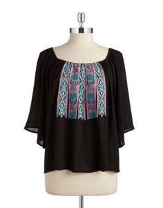 Designer Clothes, Shoes & Bags for Women Peasant Tops, Tunic Tops, Design Lab, Lord & Taylor, Go Shopping, Off Shoulder Blouse, Black Tops, Bell Sleeve Top, Stuff To Buy