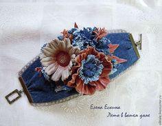 Браслет из кожи и джинса Кантри Джинсовый стиль Цветы из кожи. Елена Ескина