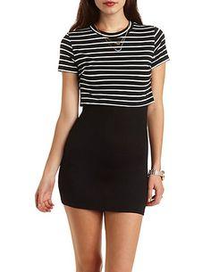 Layered & Striped T-Shirt Dress: Charlotte Russe