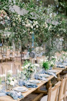A Dreamy Wedding at Rancho Las Lomas Straight out of a Fairytale – Style Me Pretty Wedding Table Settings, Wedding Reception Decorations, Wedding Themes, Wedding Colors, Wedding Styles, Wedding Ideas Blue, French Blue Wedding, Blue Table Settings, Beautiful Table Settings