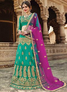 Buy Aqua Green Art Silk A Line Lehenga online, SKU Code: GHSSIT23805. This Green color Wedding a line lehenga for Women comes with Embroidered Art Silk. Shop Now!