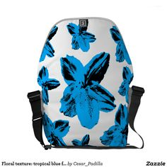 Floral texture: tropical blue flowers over white courier bag