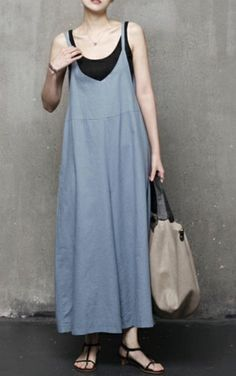 Loose wide fit natural overalls