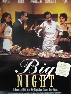It's the 20th Anniversary of 'Big Night'! The Cast Talks Italian Food, Their Signature Dishes, and Yes, That Timpano.   Tony Shalhoub, Stanley Tucci, Minnie Driver, and Isabella Rossellini, the cast of 'Big Night,' talks Italian food, home cooking, and their favorite restaurants.