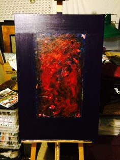 """Shawn Delaney painting """"Mix Up"""" acrylic on canvas."""