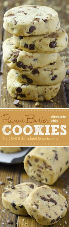 Chocolate Chip Shortbread Cookies with Peanut Butter - Chocolate Desserts OMG#chocolate #chip #cookies
