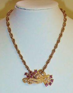 1402~Vintage Gold Tone Purple Rhinestone Faux Pearl Pendant Choker Necklace** #Choker