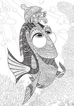 Disney Finding Dory Adult Colouring Book Nemo Fish Sea Ocean French Animals Film 3 is part of Coloring books - Adult Coloring Book Pages, Printable Adult Coloring Pages, Disney Coloring Pages, Mandala Coloring Pages, Animal Coloring Pages, Coloring Pages To Print, Mandalas Painting, Mandalas Drawing, Zentangles