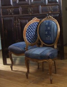 Maison Suzanne Gallery - carved gilded Italian chairs, circa were originally covered in a fine aubusson. Now they have found a new life reupholstered in Japanese boro Bar Chairs, Dining Chairs, Kimono Sewing Pattern, Textile Museum, Place Holder, Upholstered Swivel Chairs, Textiles, Oak Park, Weaving Techniques