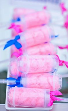 Cotton candy in push up pop containers at a girl birthday party! See more party ideas at CatchMyParty.com! #partyideas #girlbirthday