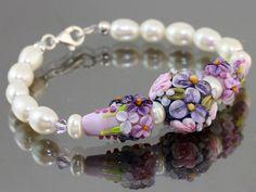 Bracelet, Lampwork Bracelet Pink roses bracelet - womens jewelry, Glass handmade Floral Lampwork beads, focal Lampwork Flower on Etsy, $90.00