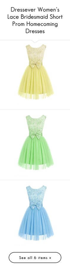 """Dressever Women's Lace Bridesmaid Short Prom Homecoming Dresses"" by sweetie-hart ❤ liked on Polyvore featuring dresses, lullabies, short homecoming dresses, short prom dresses, short bridesmaid dresses, beige cocktail dress, lace dress, green lace cocktail dress, green lace dress and short lace dress"
