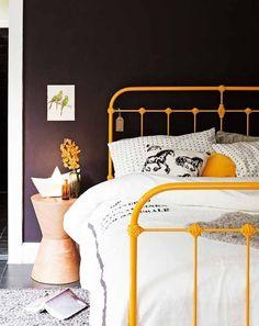 iron bed - mustard yellow