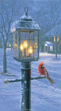 Primitive Winter Cardinals Bird Snow Night Light Wall Plug In Christmas