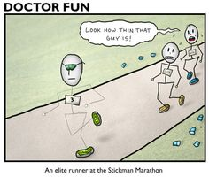 Running Humor #139: An elite runner at the Stickman Marathon