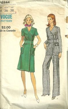 1970s Vogue 8244 Misses Front Wrap Dress, Tunic and Pants Pattern by pattern gate womens vintage sewing pattern