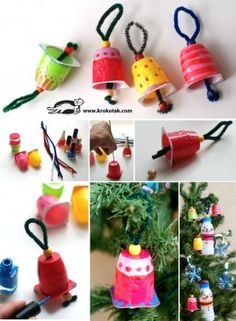 "Yoghurt pot Christmas bells - decorate some small yoghurt containers & add pipe-cleaners & large beads ("",) Diy Paper Christmas Tree, Christmas Bells, Christmas Art, Christmas Themes, Winter Christmas, Christmas Wreaths, Christmas Decorations, Christmas Ornaments, Homemade Decorations"