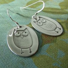 Silver Owl Earrings - Cute! (says WHO?) lol :) NOTE: Try to create using Shrinky Dink Art.