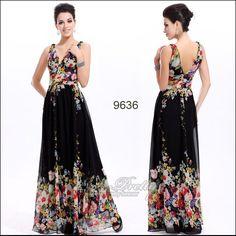 Black Floral Dress Gown