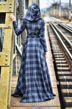Apr 2020 - Long Wool Coat with Skirt and Hood long winter handmade overcoat Muslim Fashion, Modest Fashion, Hijab Fashion, Fashion Dresses, Emo Fashion, Mode Tartan, Robes Glamour, Plaid Hoodie, Long Wool Coat