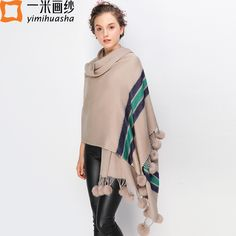 Price Drop $15.40, Buy winter striped scarves and shawls for women oversized long blanket cape wrap poncho pendant ball pompom scarf tassels