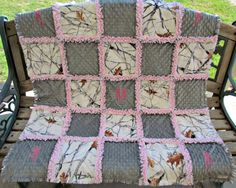 White Snowfall Camouflage with Gray and Pink Minky Rag Quilt/Baby Rag Quilt/Toddler Rag Quilt by classykidscreations on Etsy