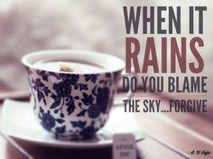 When it rains do you blame the sky...forgive. - A. D'Agio