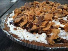 O-M-G MUST make this for the husband!!!!  Butterfinger Pie  6 (2 1/8 ounce) butterfinger candy bars, crushed 1 (8 ounce) package cream cheese 1 (12 ounce) carton Cool Whip 1 graham cracker crust  Directions: 1 Mix first three ingredients together. 2 Put it in pie crust. 3 Chill.  #kjensifymehealthy