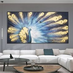 Peacock decor wall Pictures Abstract Paintings on Canvas original art animal art Gold art cuadro abstracto framed wall art home decor - Animals Canvas Wall Art - Ideas of Animals Canvas Wall Art Acrylic Painting Canvas, Canvas Art, Abstract Paintings, Sala Grande, Gold Wall Decor, Peacock Painting, Peacock Decor, Gold Art, Mural Art