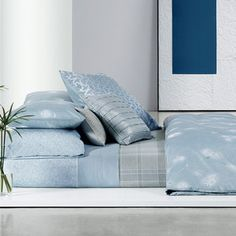 Shop from luxury labels, emerging designers and streetwear brands for both men and women. Blue Bedroom Walls, Master Bedroom, Sophisticated Style, Bedding Collections, Home Furnishings, Duvet Covers, Bed Pillows, Pillow Cases, Calvin Klein