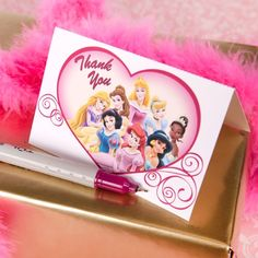 Thank your royal court for attending your party with these Disney Princess thank you cards.