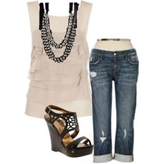 Tiered blouse & Jeans