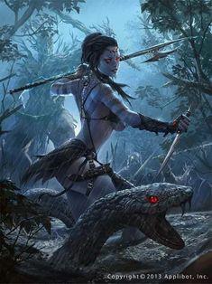 Defense Applibot Illustration by Alex Negrea (A World of Fantasy) Fantastica Fantasy Warrior, Fantasy Girl, Chica Fantasy, Fantasy Women, Fantasy Rpg, Dark Fantasy Art, Fantasy Artwork, Orc Warrior, Fantasy Beasts