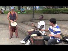 African Djembe Rhythms for beginners: nice slow Sinte in Bangkok Park,w/ Michael Ousman and Luis - YouTube