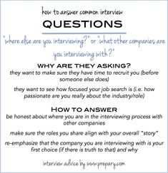 Common Interview Questions: Where Else Are You Interviewing?  Common Interview Questions